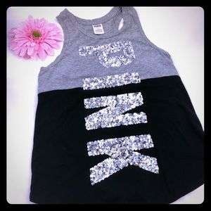 VS Pink Sequin Racerback Tank: Black & Grey